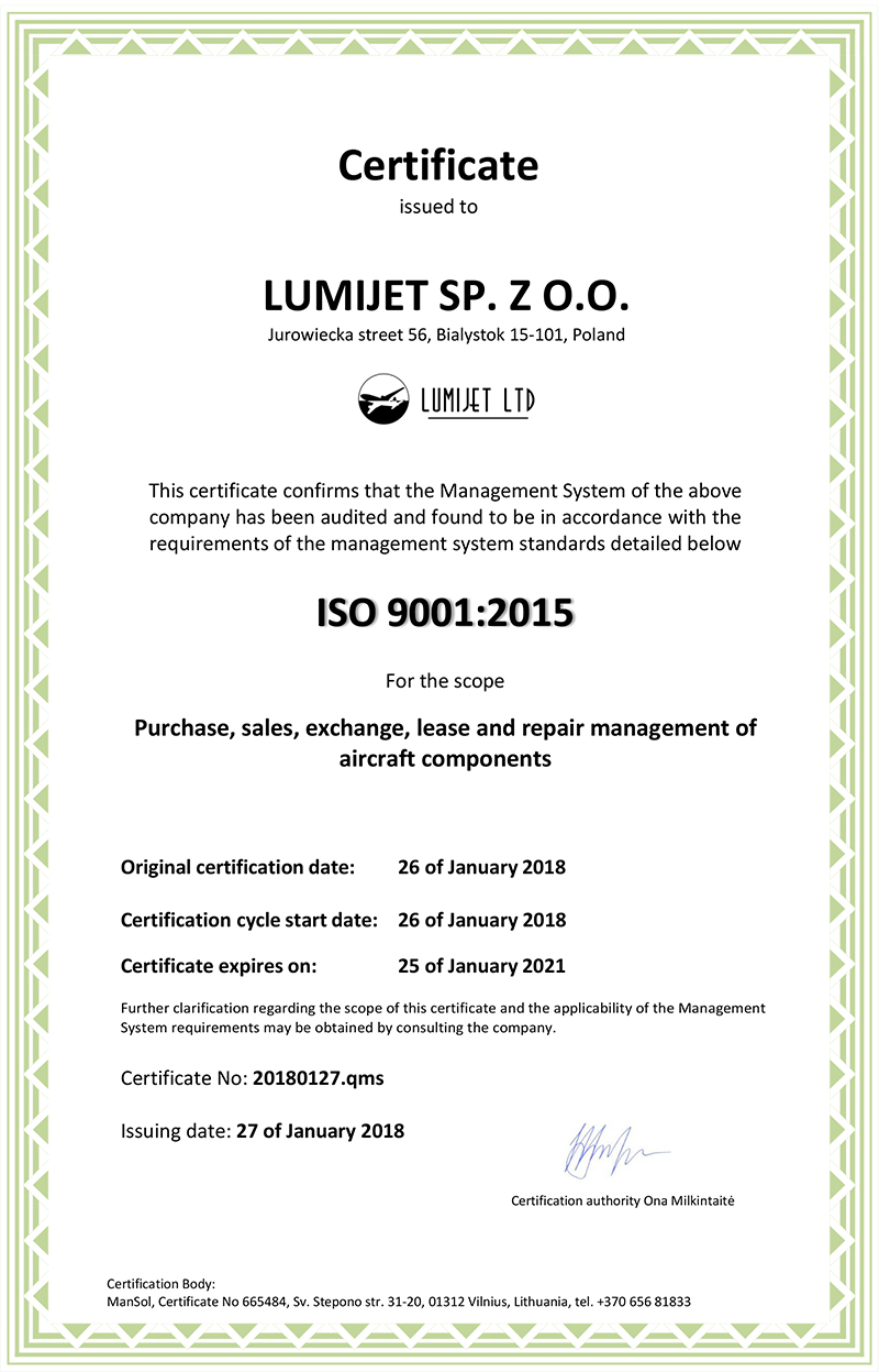 Certyfikat No 20180126